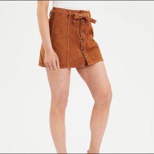 Amercican Eagle Cognac Corduroy Belted Skirt